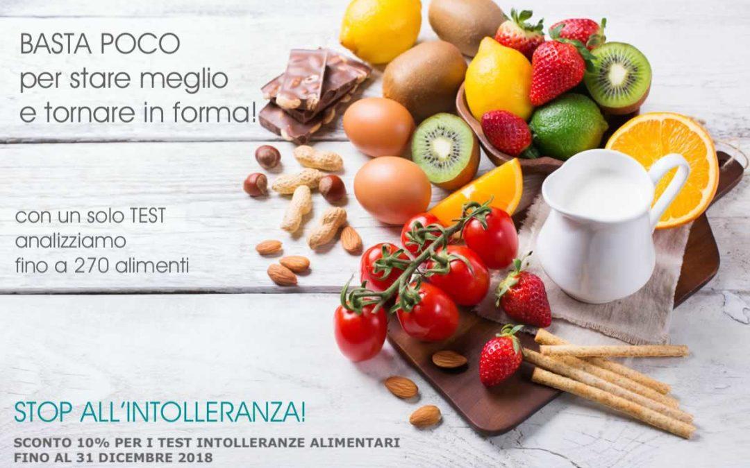 STOP ALL'INTOLLERANZA!  In offerta-promo fino a dicembre i Test per le Intolleranze Alimentari.